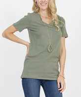 42pops 42POPS Women's Tee Shirts LT.OLIVE - Light Olive V-Neck Short-Sleeve Tee - Women & Plus