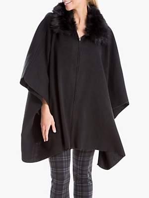 Max Studio Faux Fur Trim Cape, Black