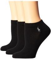 Lauren Ralph Lauren Cushion Foot Mesh Top Cotton Low Cut 3 Pack Women's Low Cut Socks Shoes