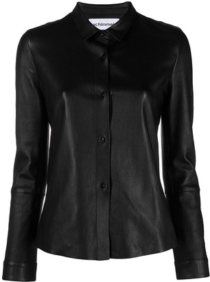 Sylvie Schimmel Leather Button-Up Shirt Jacket