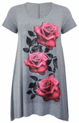 Purple Hanger New Womens Plus Size Uneven Hanky Hem Short Sleeve T-Shirt Top Ladies Floral Rose Print Jersey Tunic Light Grey Size 18