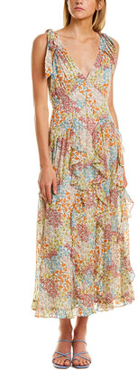 Rebecca Taylor Ava Ruffled Silk-Blend Midi Dress