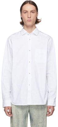 Junya Watanabe White and Blue Jacquard Shirt
