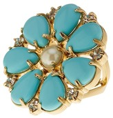 Kate Spade Gold Plated Mix Stone Glass Pearl Accented Flower Cocktail Ring