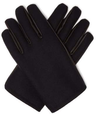 Alexander McQueen Cashmere And Leather Gloves - Mens - Navy