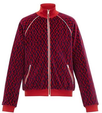 Gucci Padded Rhombus-jacquard Chenille Track Jacket - Mens - Blue Multi