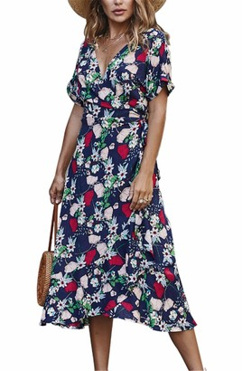 SIMYJOY Women Floral Printed V Neck Dress High Waist Ruffles Short Sleeve Maxi Dress Loose Casual Beach Dress Green