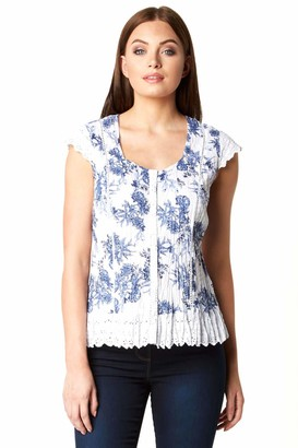 Roman Originals Womens Cotton Floral Cap Sleeve Crinkle Blouse - Ladies Casual Summer Spring Holiday Travel Work Office Everyday Daywear Lace Trim Low Neck Top Blouses - Blue & White - Size 12