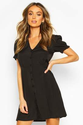 boohoo Woven Sheered Sleeve Button Shift Dress