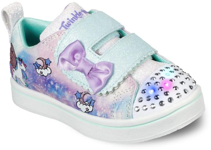 Skechers Confetti Princess White//Multi Girls Light-Up Sneaker Size 9M