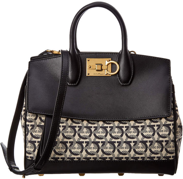 Salvatore Ferragamo Studio Monogram Canvas & Leather Satchel