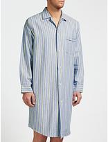 Derek Rose Brushed Cotton Stripe Nightshirt, Blue/yellow