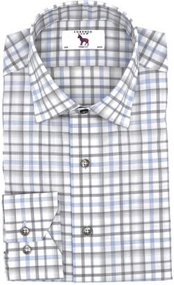 Lorenzo Uomo Box Plaid Easy Iron Stretch Trim Fit Dress Shirt