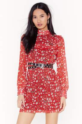Nasty Gal Womens Look Bud Don't Touch Floral Mini Dress - red - 4