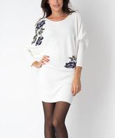 Yuka Paris Cream Floral Rosa Sweater Dress