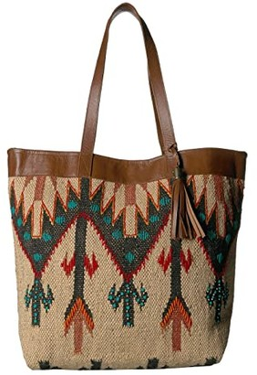 Scully Belinha Woven Tote w/ Snap Closure (Multi Natural/Green/Tan) Handbags