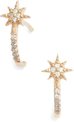 Anzie Diamond Star Half Hoop Huggie Earrings
