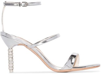 Sophia Webster Silver Tone Rosalind Crystal 85 Leather Sandals