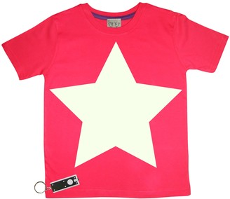 Little Mashers - Glow In The Dark Interactive T-Shirt - Star Red Adult - Adult Small - Red/White