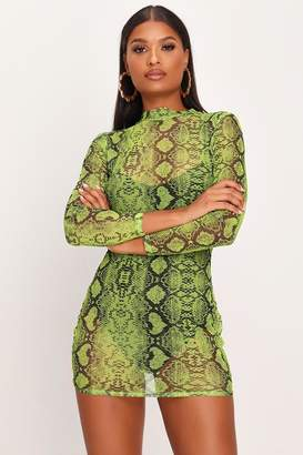 I SAW IT FIRST Neon Lime Snake Print Bodycon Sheer Mesh Dress