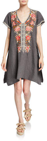 Johnny Was Paola Floral Embroidered Short-Sleeve Draped Linen Tunic Dress