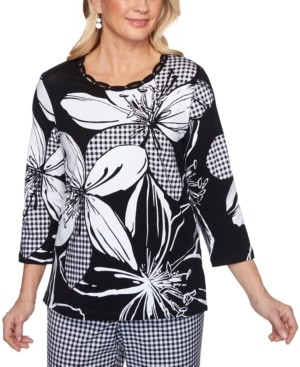 Alfred Dunner Checkmate Printed Embroidered Knit Top