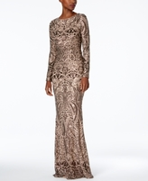 Betsy & Adam Petite Sequined Gown