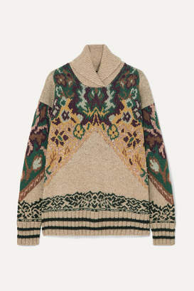 Etro Wool-blend Jacquard Turtleneck Sweater - Beige
