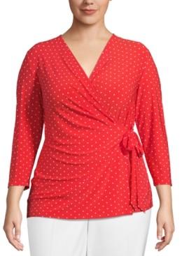 Anne Klein Plus Size Dot-Print Wrap Top