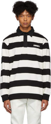 Carhartt Work In Progress Black and White Easton Stripe Rugby Polo