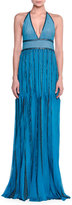 Missoni Metallic Knit Halter Gown, Turquoise