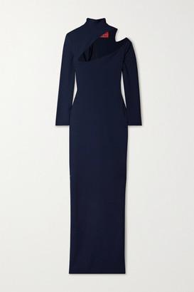 SOLACE London Ares Cutout Cady Turtleneck Maxi Dress - Navy