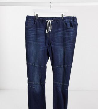 Asos Design DESIGN Plus superskinny jogger jeans with biker details in dark wash blue