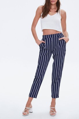 Forever 21 Striped Cuffed-Hem Ankle Pants