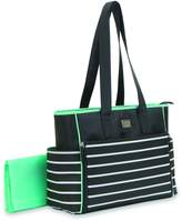 Carter's Child of Mine Zip Down Front Diaper Bag in Black with White Stripes