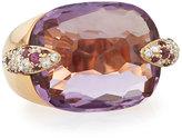 Pomellato Pin Up Rose Gold, Amethyst & Diamond Ring, Size 7.5