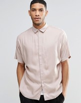 Asos Oversized Shirt In Dusty Pink With Batwing Sleeve