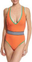 Diane von Furstenberg Deep V Belted One-Piece Swimsuit, Orange
