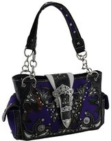 Zeckos Purple Camo Forest Camouflage Rhinestone Buckle Concealed Carry Handbag