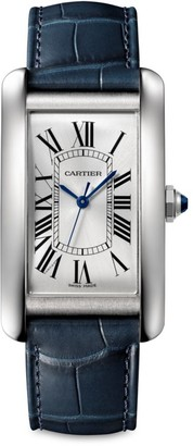 Cartier Tank Americaine Large Stainless Steel & Blue Alligator-Strap Watch
