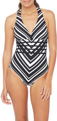 La Blanca Archistripe Cross-back One-Piece Swimsuit