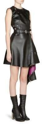 Alexander McQueen Women's Asymmetrical Hem Leather Mini Dress - Black - Size 42 (6)