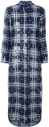 Thom Browne TB tartan sheer sequin shirtdress