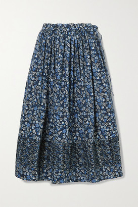 Horror Vacui Margot Ruched Floral-print Cotton-poplin Midi Skirt - Navy