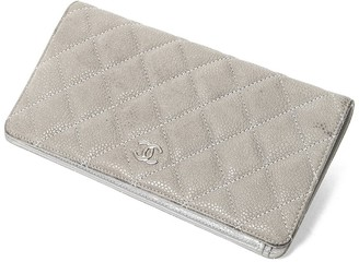 Chanel Gray Quilted Caviar Leather Classic Long Flap Wallet
