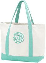 Princess Linens Mint Monogram Beach Tote Bag