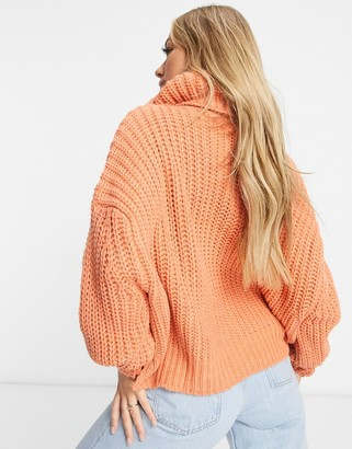 NaaNaa chunky knit roll neck sweater in rust