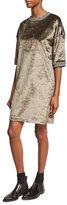 Brunello Cucinelli Half-Sleeve Velvet Varsity Dress