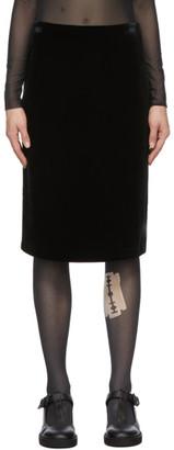 we11done Black Velour Mid-Length Skirt