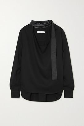 CHRISTOPHER ESBER Leather-trimmed Voile Blouse - Black